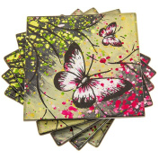 Set 4 Butterfly Glass Drink Coasters - Various Styles & Colours