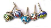Rastogi Handicrafts Ceramic Drawer Knobs Door Cupboard Pulls Knobs Table Window Multi Colour Sets 2.5cm
