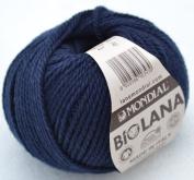50 Grammes Lane Mondial Bio Wool, Col. 417 – Navy Blue, Organic Wool, Knitting, Crochet