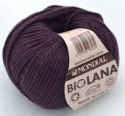 Mondial Biolana Wool 50 g Colour 205 – Aubergine 100% Organic Natural Biowolle Knit & Crochet