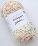 Rico Creative Cotton Print Aran Colour 14 – Daisy Dots Cotton Yarn for Knitting & Crochet