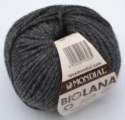 50 Grammes Lane Mondial Bio Wool, Col. 800 – Dark Grey, Organic Wool, Knitting, Crochet