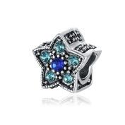 Yingyan Silver Charms Pentagram CZ European Bead For Pendant Necklace Bracelets Bangle Jewellery