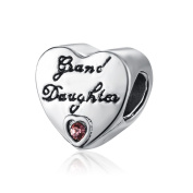 Yingyan Silver Charms Daughter Heart European Bead For Pendant Necklace Bracelets Bangle Jewellery