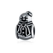 Yingyan Silver Charms Snowman European Bead For Pendant Necklace Bracelets Bangle Jewellery