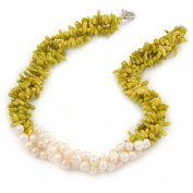Statement 3 Strand Twisted Lime Green Coral and Cream Freshwater Pearl Necklace with Silver Tone Spring Ring Clasp - 44cm L