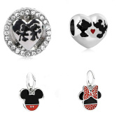 4 Pack Double Kiss Round and Heart with Mickey and Minnie Pendant Charm Set Sister Mum Friend gift will fit Pandora and Biagi charm bracelets bmp