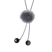 Profusion Circle Women Pompom Tassel Beads Pendant Adjustable Long Sweater Chain Necklace Jewellery