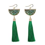 Oyedens Women Retro Ethnic Style Rhinestone Fan Shaped Tassel Statement Dangle Earrings