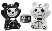 Ebros Furry Bones Pandie The Voodoo Panda Bears Salt And Pepper Shakers Ceramic Set Furrybones Collectible Skeleton Figurines Kitchen & Dining Centrepiece