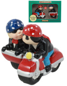 Ebros Patriotic Biker Couple Riding Motorcycle and Side Car Rig Salt And Pepper Shakers Set Magnetic Ceramic Figurines With Rubber Stoppers