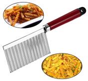 Potato Cutter, Justdolife Vegetable Cutting Potato Wavy Edged Stainless Steel Cutter Kitchen Accessories