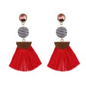 JaneDream Women Bohemian Geometric Sector Design Tassel Drop Dangle Earrings Charming