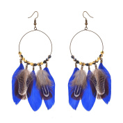 Zephyrr Fashion Beaded Dangler Hook Earrings with Feathers For Girls and Women