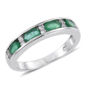 Emerald , Zircon Band Ring in Platinum Overlay Sterling Silver 1 Ct
