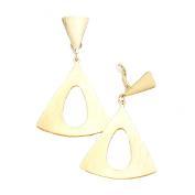 Jewellery Ant Hony . Long Ribbed Creole Hoop Earrings – Gold Plated Metal Length 7 cm