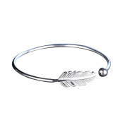 Silver-plating Angel Feather Bracelet Adjustable Open Cuff Bangle Women Jewellery
