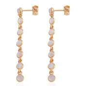 Sri Lankan Titanium Moonstone Dangle Earrings with Push Back in Yellow Gold Overlay Sterling Silver 2.800 Ct.