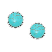 Jewellery Ant Hony . Clip On Earrings Round 2.3 cm. Turquoise Natural Stone Clip On Earrings