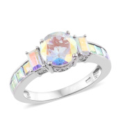 Mercury Mystic Topaz Ring in Platinum Overlay Sterling Silver 5.500 Ct.