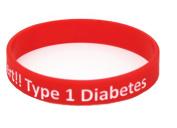 Diabetic Medical Alert Type 1 Diabetes Insulin Dependent Silicone Bracelet Wristband Armband Nurse Bangles