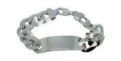 Chunky ID Bracelet Engraving Surface Plate 22.5 cm Width 16 mm 74g Genuine 925 Sterling Silver Curb Chain