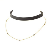Johnny Loves Rosie Women Pink Gold Plated Cubic Zirconia Choker Necklace of Length 20cm