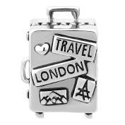 Korliya Travel London Charm Suitcase Bead For European Bracelet