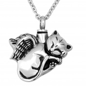 Korliya Cat Urn Necklace For Ashes Memorial Keepsake Pendant Cremation Jewellery