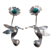 Long 925 Silver Hummingbird and Flower Earrings Gift Boxed