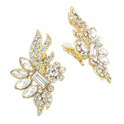 Jewellery Ant Symphony with Ball Wedding Earrings – Clip On Earrings On Clips Gold Clear Crystal Transparent 5 cm Long