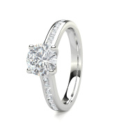 Diamonds N Diamonds 0.90 Carat Round Brilliant Diamond Side Stone Engagement Ring in 18 Kt White Gold