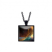 Planet Necklace Astronomy Square glass Pendant Space Jewellery galaxy Necklace Planet Jewellery Gift