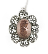 Antique Silver Hedgehog Necklace with a Handmade Pendant in Brown Colour by Tizi Jewellery for Ladies and Girls Perfect gift or for a Party in a Gift Box