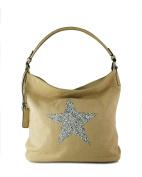 Sparking Rhinestone Embellished Star Canvas Shoulder Bag/ Tote Shopper Medium Size 35x30x14 cm