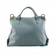 Made In Italy Genuine Leather Woman Handbag With Removable Shoulder Strap Colour Light Blue Tuscan Leather - Woman Bag