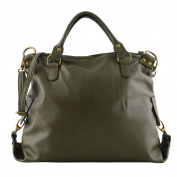 Made In Italy Genuine Leather Woman Handbag With Removable Shoulder Strap Colour Dark Green Tuscan Leather - Woman Bag