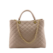 Made In Italy Genuine Quilted Leather Handbag Colour Champagne Pink Tuscan Leather - Woman Bag