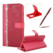 Diamond Leather Case for iPhone 6S Plus,Strap Wallet Case for iPhone 6 Plus,Herzzer Luxury Stylish Red Flower Pattern Crystal Bookstyle Magnetic Stand Leather Case with Soft TPU