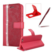 Diamond Leather Case for iPhone 6S,Strap Wallet Case for iPhone 6,Herzzer Luxury Stylish Red Flower Pattern Crystal Bookstyle Magnetic Stand Leather Case with Soft TPU