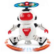 Dancing Robot, Sacow Electronic Walking Smart Space Robot Flashing Lights 360° Body Spinning Infrared Robot Astronaut Kids Toys