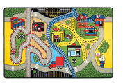 Adgo Kids Collection Anti Bacterial Rubber Backed Non Slip Green Frame with Multi Colours Kids Children's Educational Race Area Rug