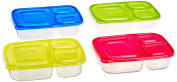 Green Direct 3-Compartment Lunch Boxes Meal Prep Containers / Food Storage Containers with Lids No BPA Plastic Bento Box, Reusable,Microwave Dishwasher Freezer Safe
