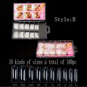 Nail Model, Hunpta Clear False Nail Tips Nail Model Acrylic UV Gel Nail Art Salon Tools+Box