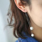 Oyedens Women's Elegant Silver Plated Pearl Drop Long Chain Tassel Earrings