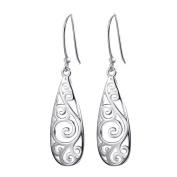 Oyedens Women Bohemia Silver Hollow Carved Water Drop Dangle Earrings Jewellery Best Gift