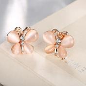 Oyedens Luxurious Imitation Opal Butterfly Earrings Crystal Rhinestone Ear Stud Jewellery