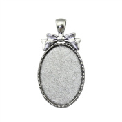 NEWME 9Pcs 25x35mm Oval Inner Size Antique Silver Plated Bow Knot Single Side Side-On Cabochon Base Setting Charms Pendant