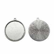 NEWME 18Pcs 30mm Round Inner Size Antique Silver Plated Classic Single Side One Hanging Cabochon Base Blank Tray Cameo Setting Necklace Bracelet Pendant Charms