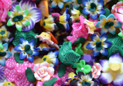 40-50+ Mixed Beads Polymer clay Flower 10mm-36mm